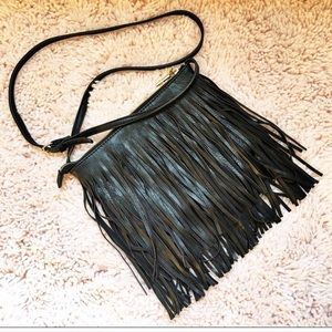 Black fringe crossbody bag